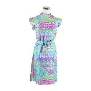 Blue cap sleeve vintage sheath dress M
